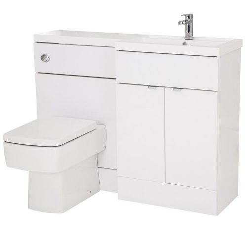 Elite White Gloss 1200mm Combination Furniture Pack - Right Hand